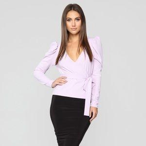 Fashion Nova Wrap Lavender Blouse Tie Waist XS